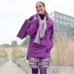 Dámský Kabát + šál fialová