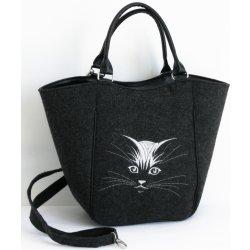 f2d74d3a3b kabelka Piknik mačací tvár tmavo sivá od 39