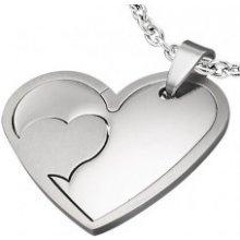 Oceľový prívesok dvojité srdce vyberacie lesklé G3.10