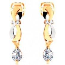 Šperky eshop náušnice v zlate dvojfarebné oblúčiky visiaca zirkónová slza GG105.01