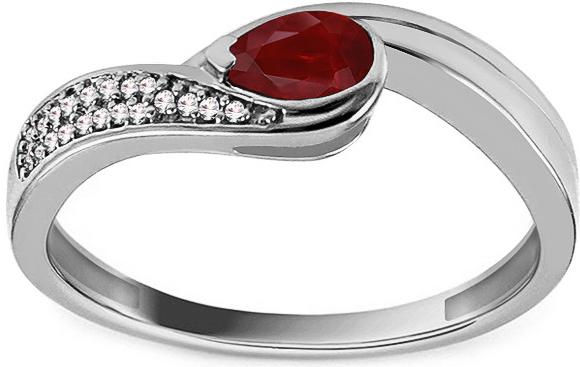 ff78d084b iZlato Forever Prsteň z bieleho zlata s rubínom a diamantmi 0.040 ct Albie  KU1023A
