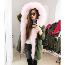 3ef134066df0 Fashionweek Zimná exkluzívna bundička  parka s kožušinkou s kapucňou s  ružovou kožušinou FA6205