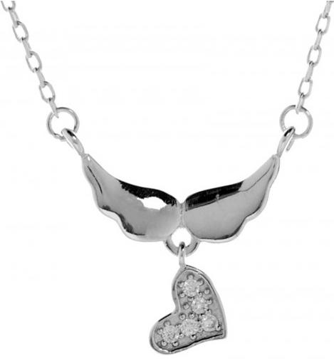 5de778639 Argento Strieborný náhrdelník zirkónový srdce anjelské krídla Rhodiovaný  9097000
