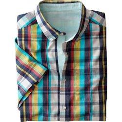 c4ccff4ff0 Blancheporte Kockovaná farebná košeľa s krátkymi rukávmi kocka modrá žltá