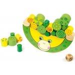 Small Foot drevená motorická hra balancujúca žaba