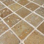 Mozaika NOCHE TRAVERTINE tumbled (tmavý travertin) 48x48x10mm, plato 300x300mm