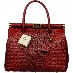 Talianska kožená kabelka Laureta Rossa Cocco červená