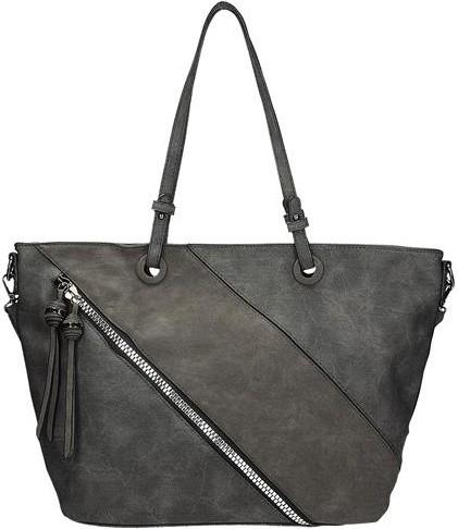 Kabelka Dámská kabelka s ozdobným zipem na přední straně v šedé ... cd305c7f14e