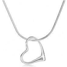 Šperky eshop Náhrdelník strieborný hrubšia retiazka hadík, obrys nesúmerného srdca SP92.11