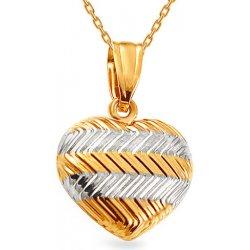 5eeaef924 iZlato Forever Zlatý dvojfarebný prívesok gravírované srdce IZ14853 od  62,32 € - Heureka.sk