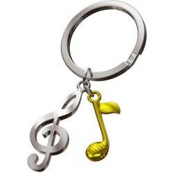 Prívesok na kľúče Husľový kľúč so zlatou notou MT992-1 od 7 54576f5c5e9