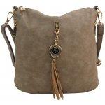 crossbody dámska kabelka s bočnými vreckami 2494-BB prírodná hnedá