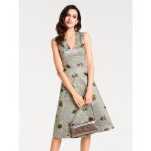 21e8afb4ad37 heine TIMELESS koktailové šaty žakárový vzor krémová hnedosivá