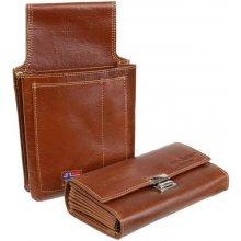 ac2f72a31b GreenBurry Set Čašnícka peňaženka držiak koža hnedá