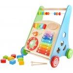 BABY MIX Detské drevené edukačné chodítko Farebné