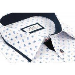 0b722ac031b2 Pánska biela košeľa s modrým lemovaním BEVA KLASIK kr.rukáv od 29