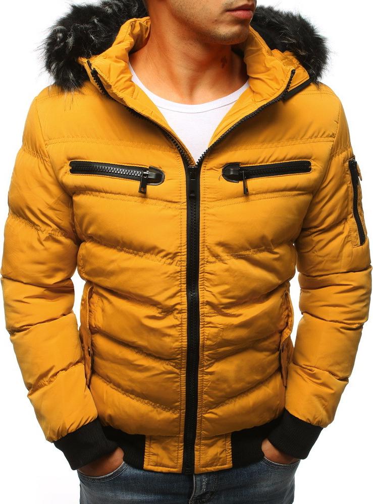 Pánska bunda pánska zimná bunda prešívaná žltá tx2319 - Zoznamtovaru.sk ff29e69f1e8