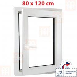ALUPLAST Plastové okno biele otváravé aj sklopné pravé 6 komôr 80 x 120 cm