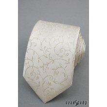 Smotanová svadobná kravata s kvetinovým motívom