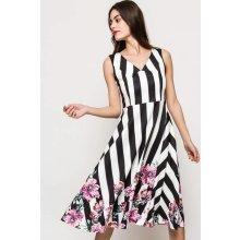 6a4ec6379acd Čierno-biele pruhované letné šaty s kvetinovým vzorom