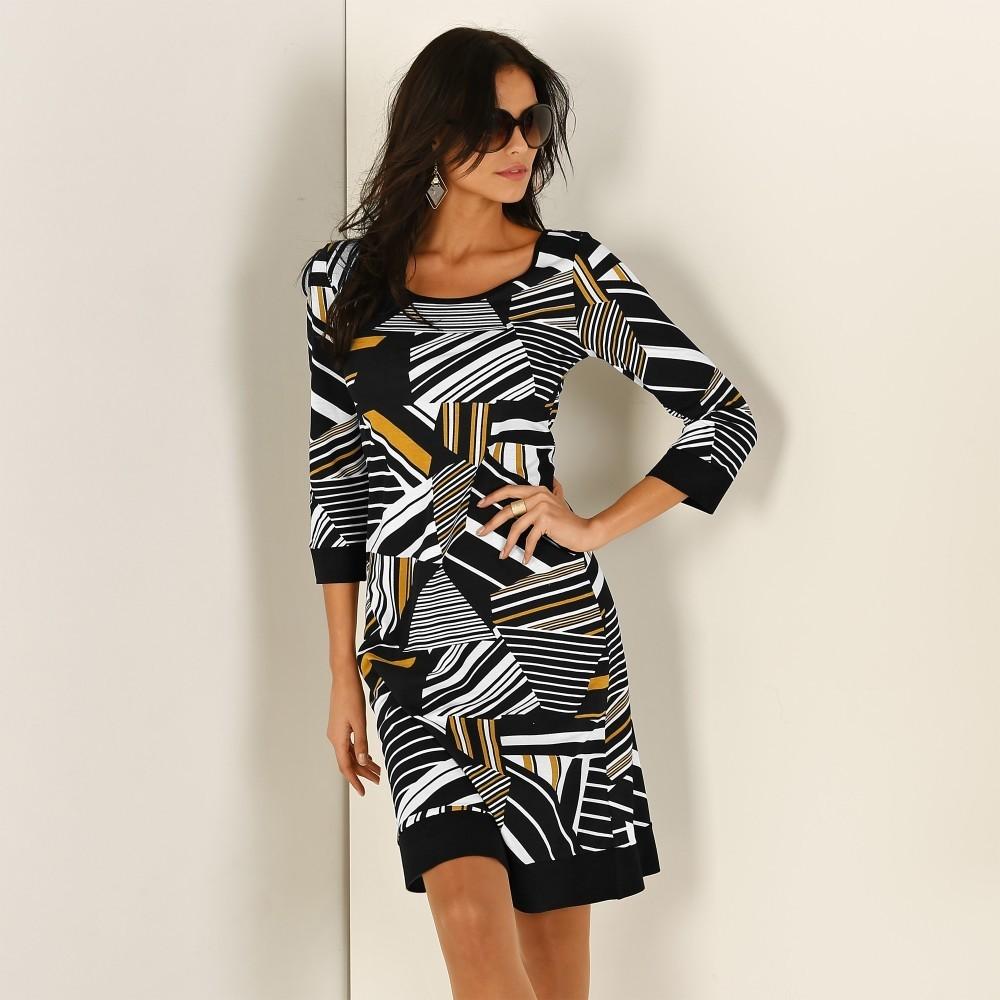 41328eb83c75 Dámske šaty Blancheporte Šaty s grafickým vzorom čierna horčicová ...