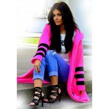 Dámsky elegantný farebný sveter exclusive - kabát s kapucňou SV11 ružový  neón 599d76b97c5