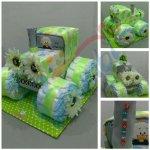 Darčeky-Bambi Plienková torta traktor zelená
