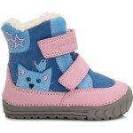 D.D.step Dievčenské zimné topánky s mačičkou ružovo-modré