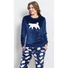 Medveď dámske pyžamo dlhé tmavě modrá