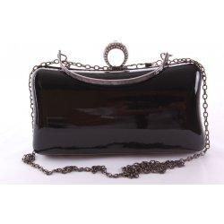 990e3bbf08 dámska spoločenská kabelka lakovaná a ozdobená so štrasmi ZL2042 čierna