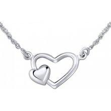 a24c7f12a Silvego Strieborný náhrdelník dvojité srdce ZTJ71251