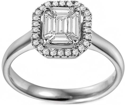8153b9924 iZlato Forever Zásnubný prsteň z bieleho zlata s baguette diamantmi 0.480  ct IZBR690A
