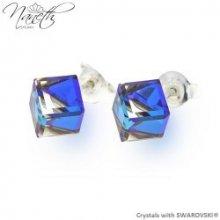 Naneth náušnice s kryštálmi CUBE Swarovski Crystals Bermuda Blue NA4841BB6 0cf09fbbd98