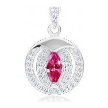b8b8841c8 Šperky eshop Prívesok zo striebra 925, ružové zirkónové zrnko, dvojitá  obruba, číre zirkóny
