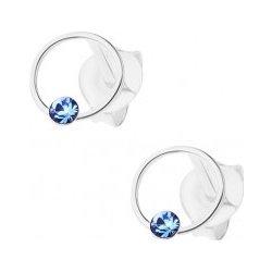 197f4d8bb Šperky eshop strieborné náušnice krúžok s modrým krištálikom Swarovski  I32.23