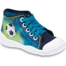 Befado Chlapčenské členkové tenisky s futbalovou loptou Maxi zeleno-modré
