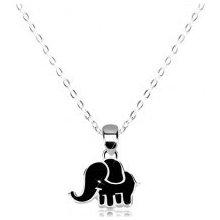 7662cbd0c Šperky eshop Náhrdelník zo striebra lesklá retiazka, sloník zdobený čiernou  glazúrou S17.27