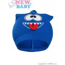 New Baby jesenná detská čiapočka smejko Modrá
