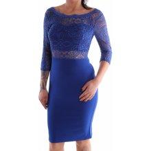 Dámske spoločenské šaty kombinované s čipkou parížske modré D3