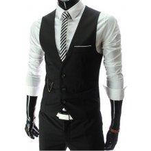 Luxusná pánska vesta ku obleku čierna