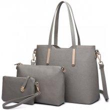 kabelka kabelka cez rameno + crossbody kabelka s taštičkou sivá 58dc45e286a