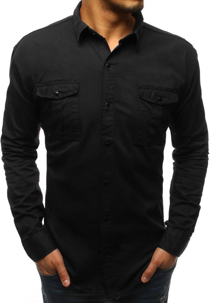 4275c13dc93d Filtrovanie ponúk Moderná čierna pánska košeľa s vreckami (dx1540) -  Heureka.sk