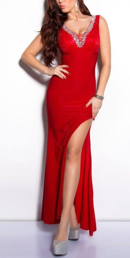 eaa59d66a1f8 KouCla dámske spoločenské šaty dlhé s čipkou a kameňmi červená ...