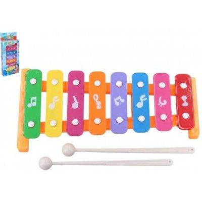 Xylofón 26cm kov / plast + 2 paličky 3 farby v krabici 13,5x32x4cm