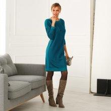 Blancheporte Pletené šaty s lodičkovým výstrihom tyrkysová 3a1e469be59