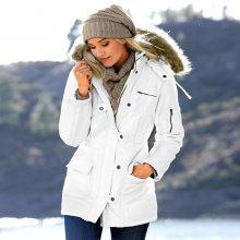 Dámská bunda s kapucňou biela