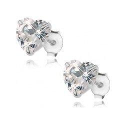 fcfd11b23 Šperky eshop strieborné náušnice číre zirkónové srdiečko puzetové zapínanie  I28.28