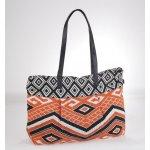 4f2055a5d0 Kbas kabelka z plátna s aztéckym vzorom oranžová