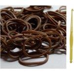 Farebné gumičky k dúhovým náramkom 250 ks hnedé