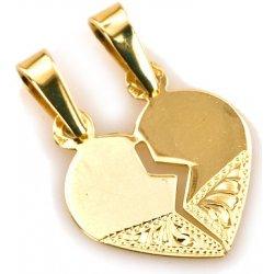 083faa195 Zlatý prívesok srdce pre dvoch s gravírom IZ4932 alternatívy ...